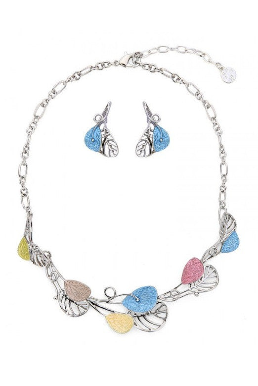 Silver & Pastel Leaves Necklace & Earrings Set