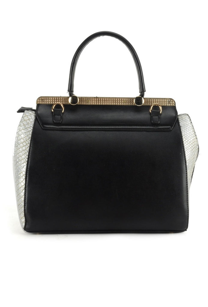 White/Black Snakeskin Flap Grab / Shoulder Bag