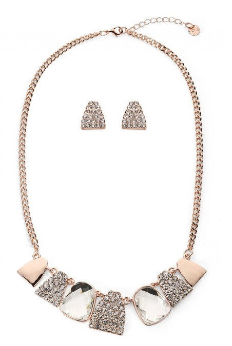 Rose Gold & Diamante Abstract Necklace & Earrings Set