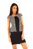 Grey and Black Striped Jacket Peplum Dress