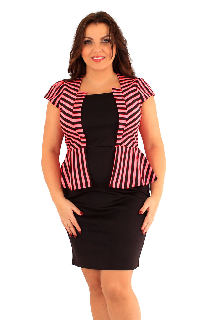 Neon Pink and Black Striped Jacket Peplum Dress