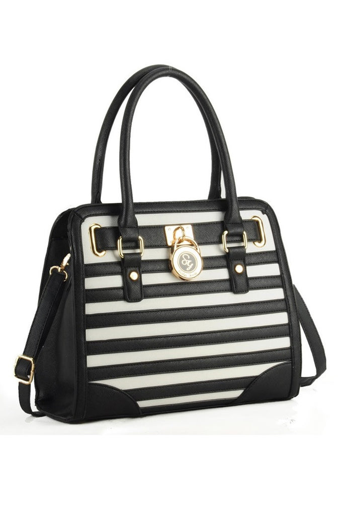 Black/White Stripes Grab / Shoulder Bag