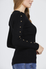 Black Studded Sleeve Ribbed Top