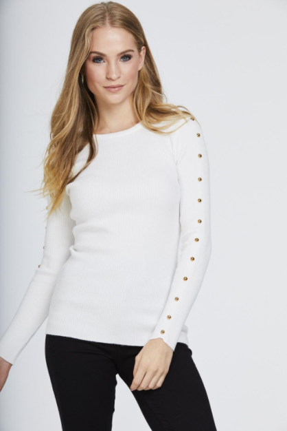 Cream Studded Sleeve Ribbed Top