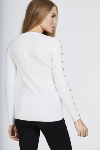 White Studded Sleeve Ribbed Top