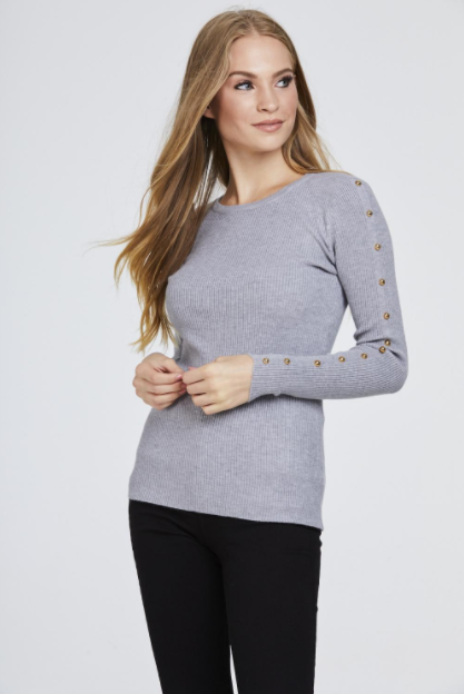 Grey Studded Sleeve Ribbed Top