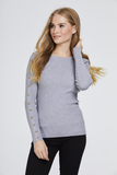 Light Grey Studded Sleeve Ribbed Top