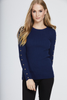 Blue Studded Sleeve Ribbed Top