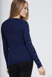 Navy Studded Sleeve Ribbed Top