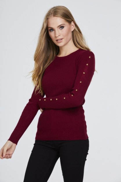 Red Studded Sleeve Ribbed Top