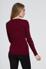 Wine Studded Sleeve Ribbed Top