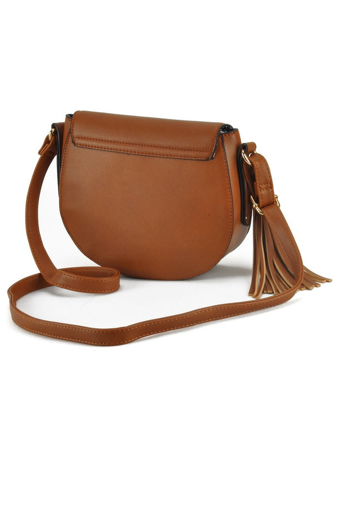 Brown Rivets & Studded Crossbody Tassel Bag