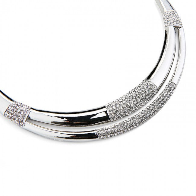 Silver Tubes Double Row Necklace & Earrings Set