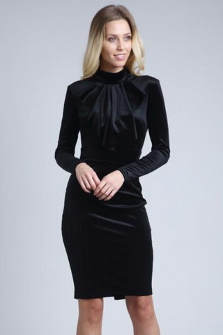 Black Bardot Pleated Midi Dress