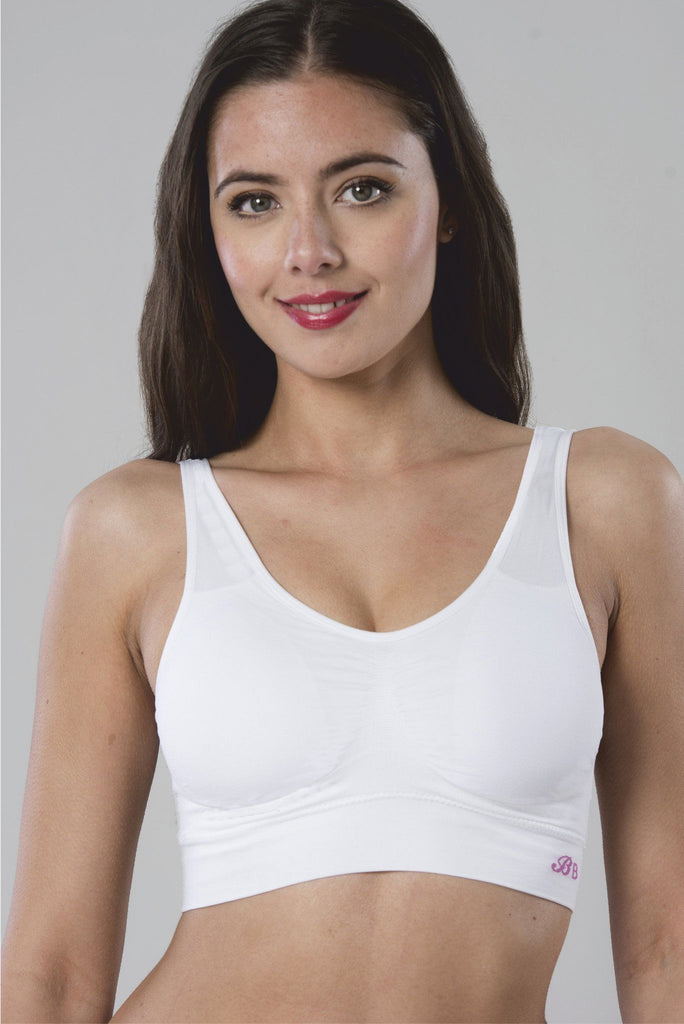White pull on comfort bra a non-wired bra