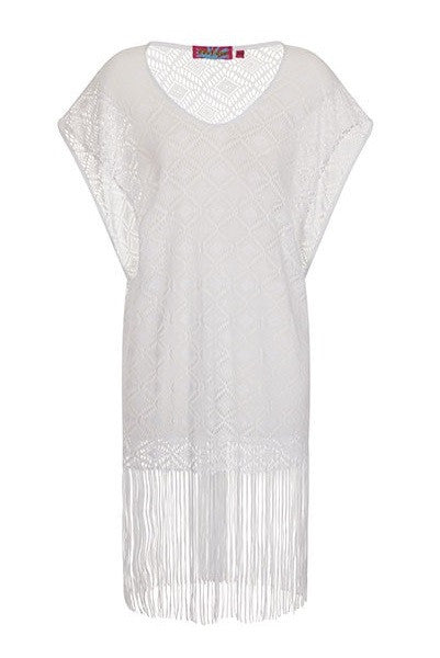 White Crochet Fringed Kaftan Cover Up