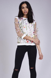 White Mesh Embroidered Flower Top