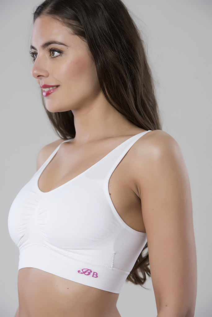 White pull on comfort bra a non-wired bra from the side