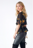 Black Floral Wrap Over Top