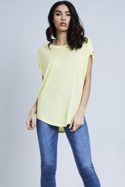 Yellow Diamante Shoulder Detail Top