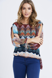 Zig Zag Print Cut Out Sleeve Top