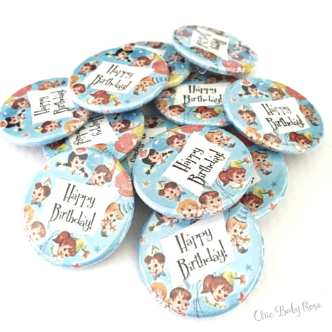 Retro Birthday Button 12 Pack