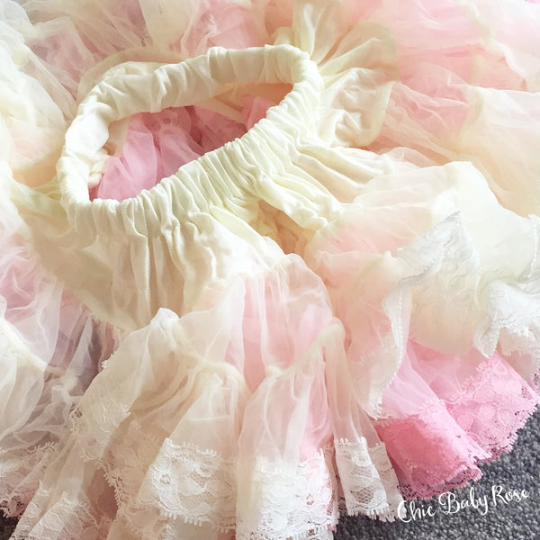 "Vintage Lace Cream and Pink 9"" Pettiskirt"