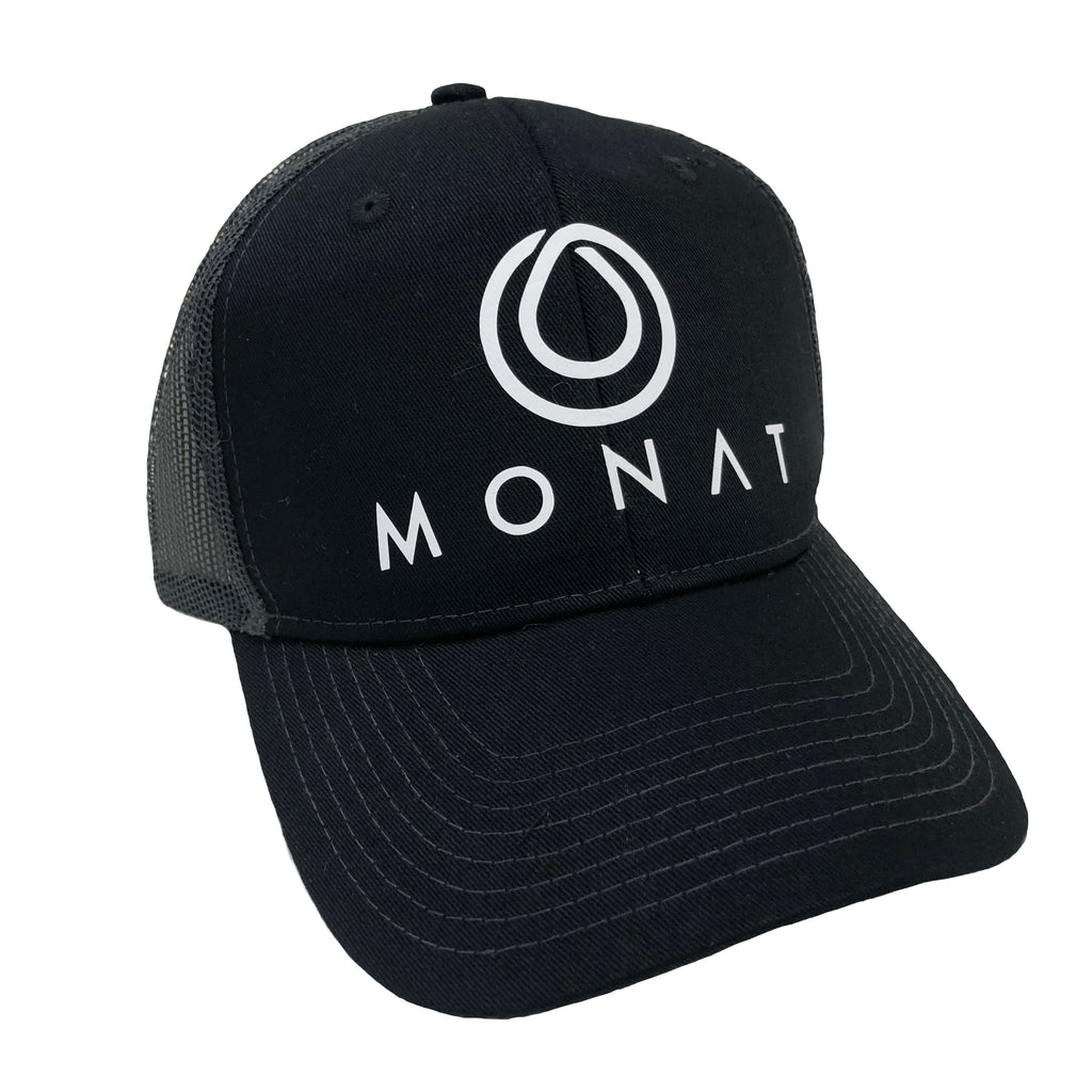 Monat Oil Drop Logo Mesh Back Black Hat