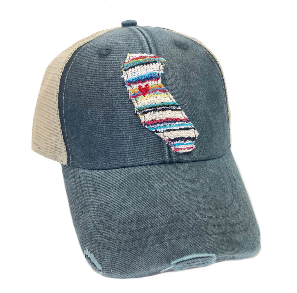 California Beach Stripe Navy Hat