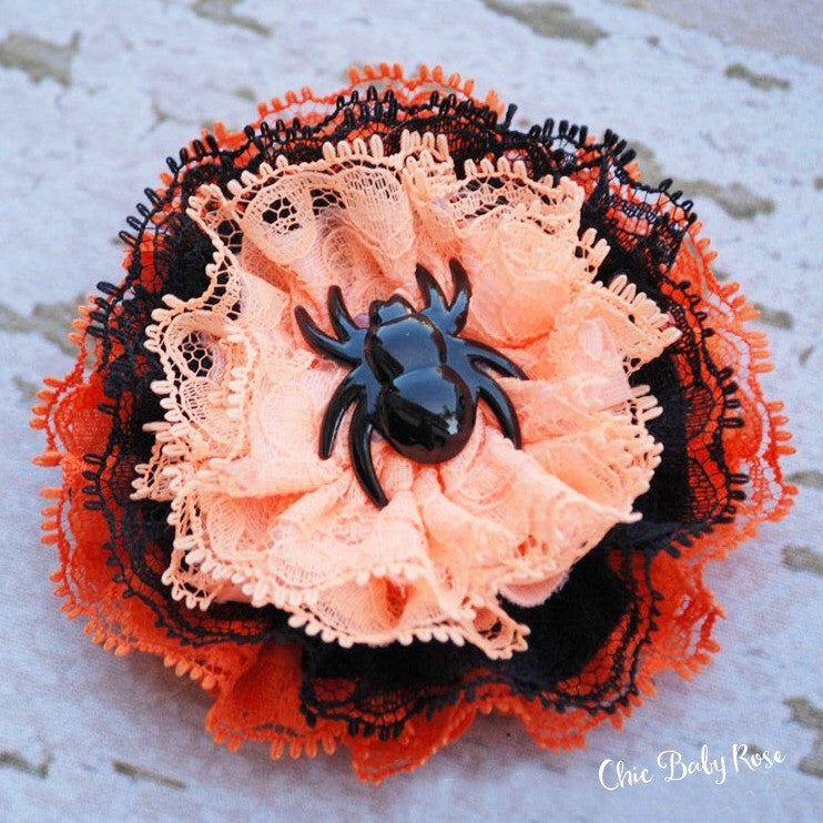 Halloween Spider Lace Rosette