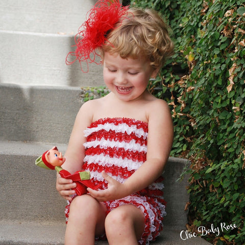 Christmas Candy Cane Lace Petti Romper All Sizes 50% Off