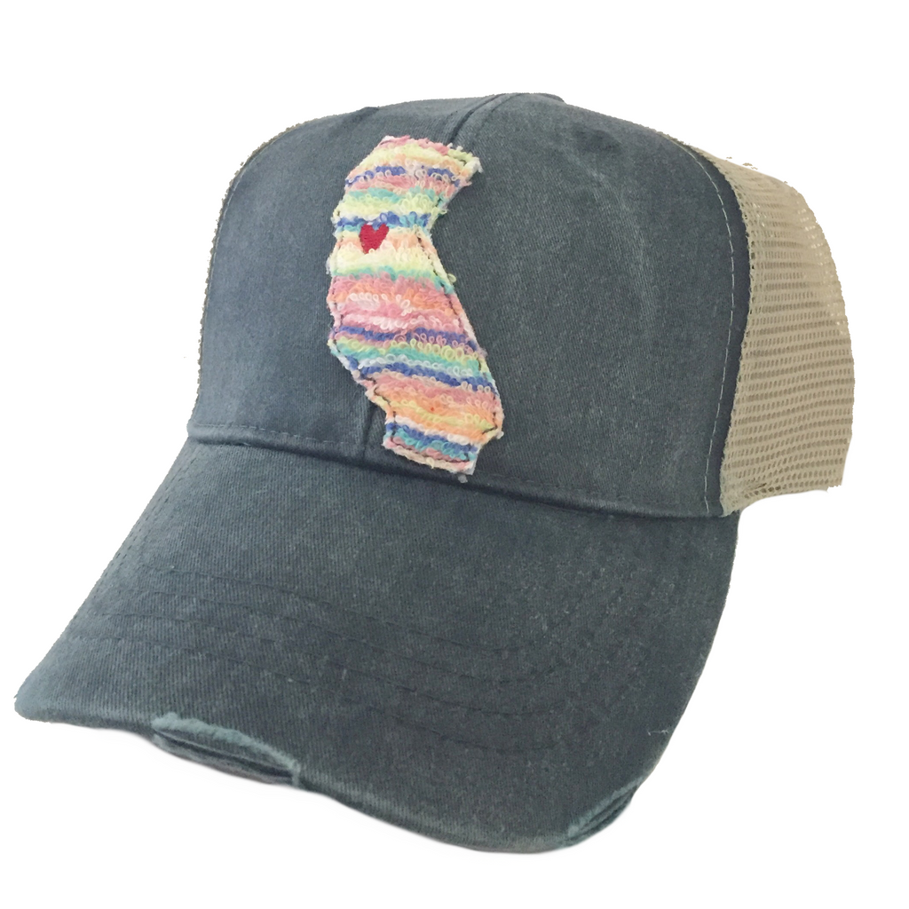 California Candy Stripe Navy Hat