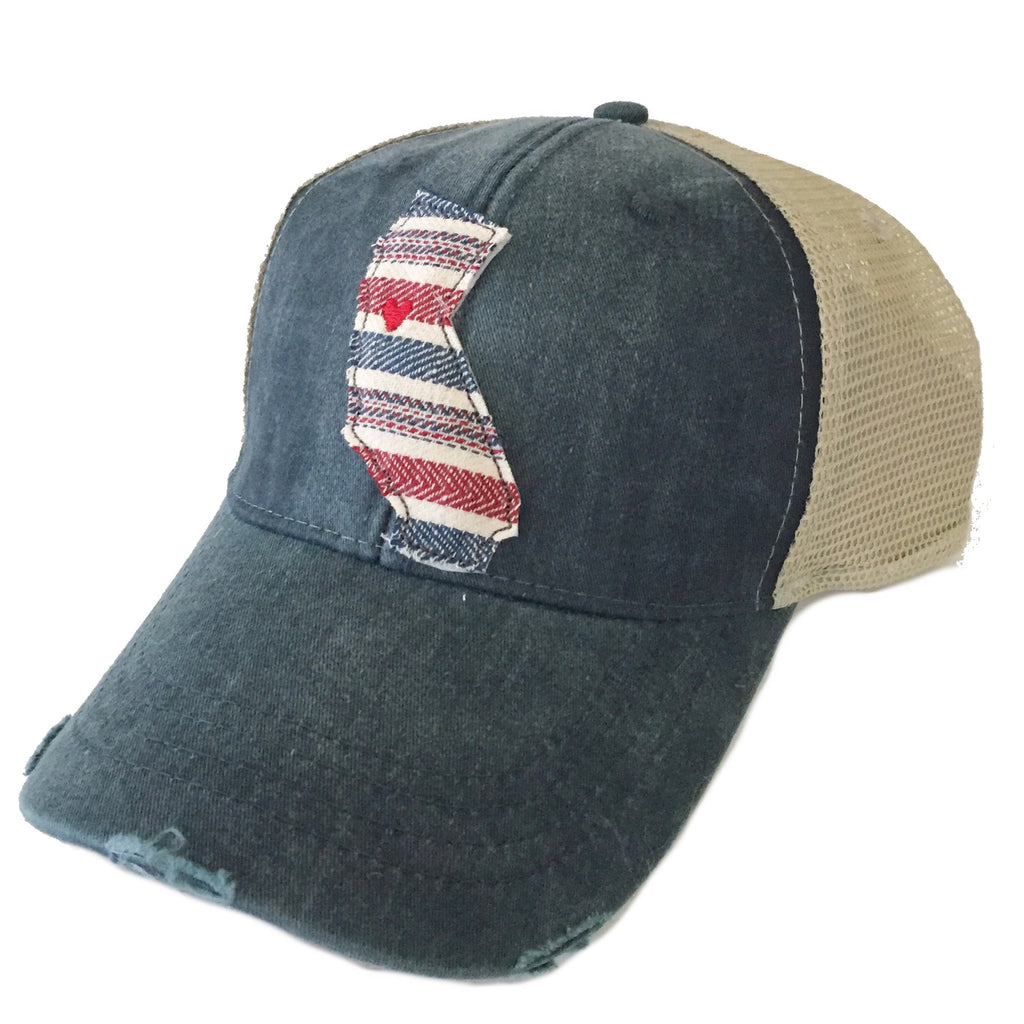 California USA Stripe Navy Hat
