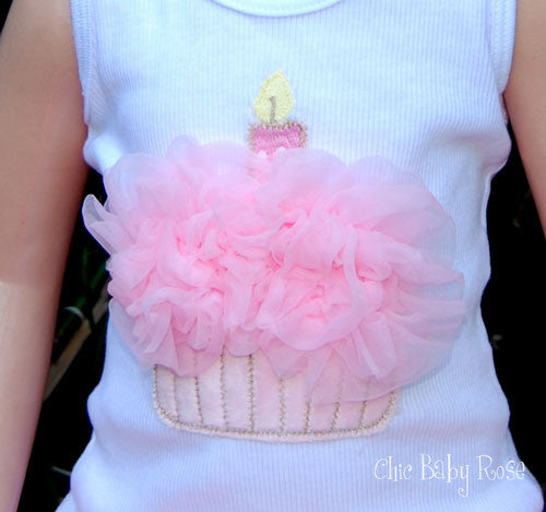 Fluffy Birthday Cupcake Top Available in 21 Colors