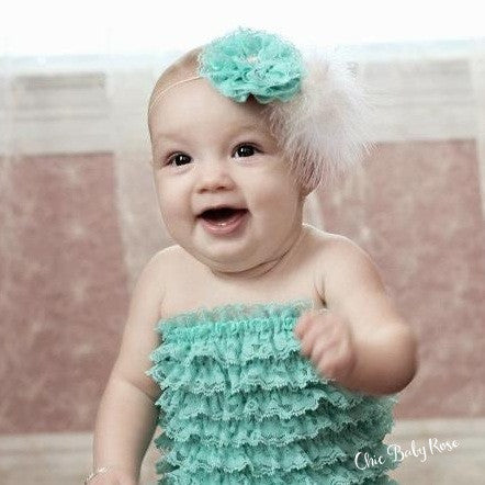 Lace & Feather Rosette Available in 22 Colors