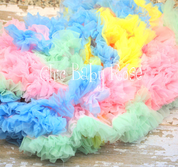"Pastel Rainbow Pettiskirt 9"" and 13"" Length"