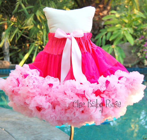 "Raspberry & Light Pink Pettiskirt 9 & 13"" Length"