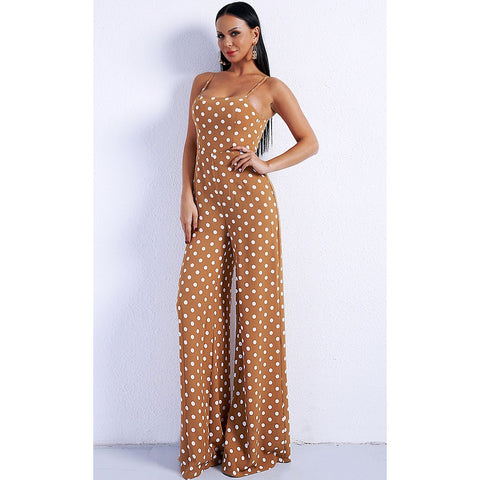 Tan Polka Dot Jumpsuit Evelyn Belluci