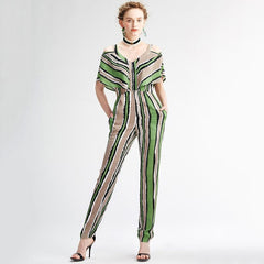 Casual Striped Full Length V-neck Jumpsuit