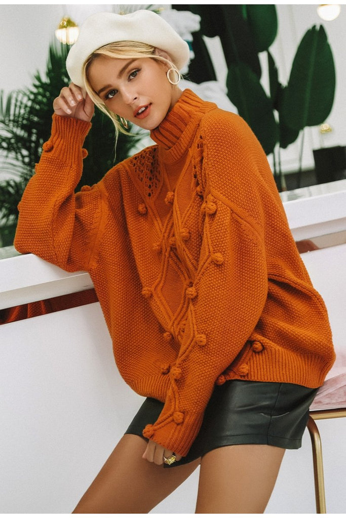 Hollow out knit turtleneck sweater