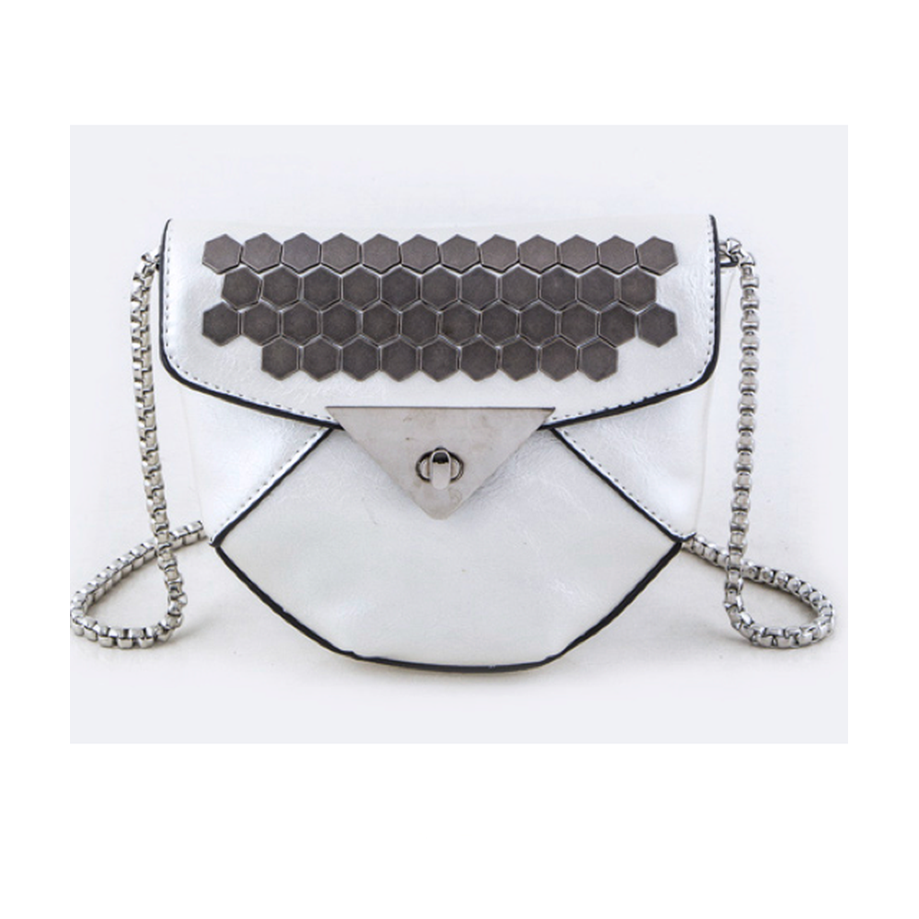 White Studded Faux Leather Bag