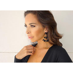 Chandelier Earrings Gold Black