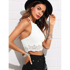 Scallop Laser Cut Suede Halter Top