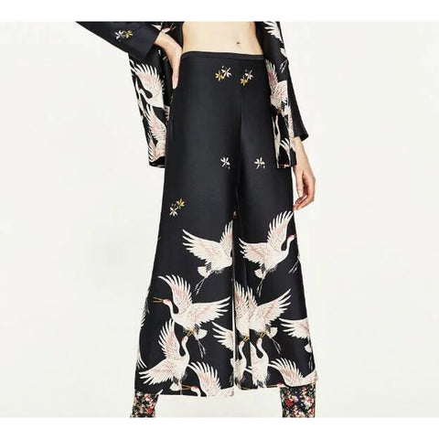 Bird Print Loose Wide leg pants