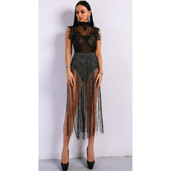 Black Fringe Tassel Dress