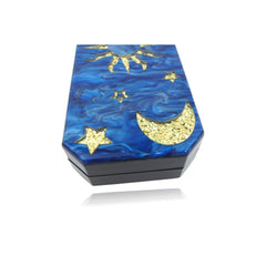 Moon Star Navy Blue Mother Of Pearl Evening Clutch