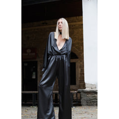 Dark grey plunging neckline jumpsuit