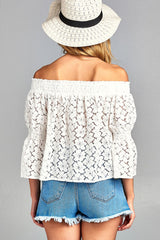 Ladies fashion off the shoulder w/smocked detail floral lace top