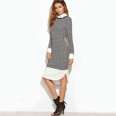 Houndstooth Contrast Dress
