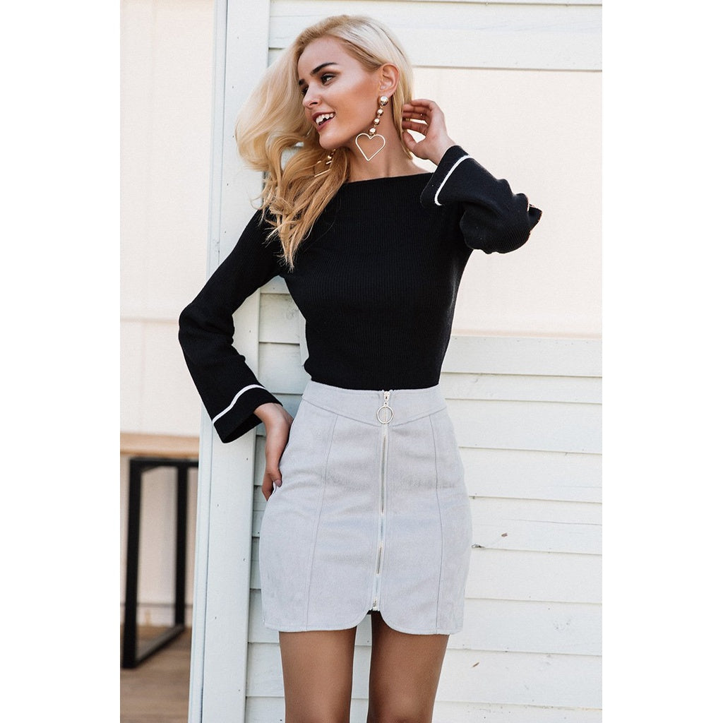 Sexy Suede Mini Skirt